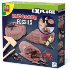 Bruine SES Creative opgravingsspel Explore fossielen junior 5-delig