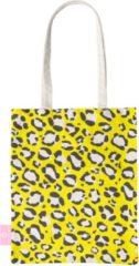 Beige BEACHLANE - Katoenen tasje - Canvas Tote Bag Shopper - Luipaard / Leopard print Geel - Schoudertas / Boodschappen tas
