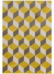 Eazy Living Easy Living - Arlo-ar09-Yellow-Block Vloerkleed - 160x230 cm - Rechthoekig - Laagpolig Tapijt - Retro, Scandinavisch - Geel, Taupe