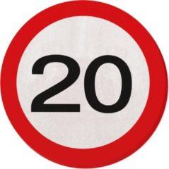 Partywinkel 20 Jaar Verkeersbord Servetten - 20 stuks