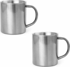 Shoppartners 2x Drinkbeker/mok zilver 280 ml - RVS - Zilveren mokken/bekers voor onbijt en lunch