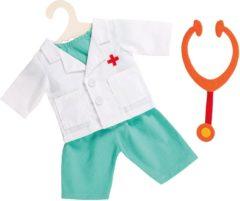 Witte Heless poppenkleding doktersset met stethoscoop 4-delig 28-35 cm