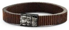 Donkerbruine Frank 1967 Leather 7FB 0277 M Leren armband met edelstalen sluiting - 20 cm - Donker Bruin