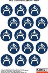 Blauwe Moire BV Pictogram sticker 75 stuks M023 - Oversteekplaats gebruiken - 50 x 50 mm - 15 stickers op 1 vel