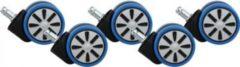 AMSTYLE 5er Set Rollen für Bürostuhl Blau Stift 11mm / Durchmesser 60mm Hartbodenrollen Drehstuhlrollen Stuhlrollen