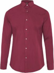 Bordeauxrode WE Fashion MEN'S SLIM FIT STRETCH SHIRT