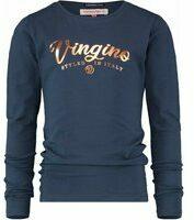 Vingino! Meisjes Shirt Lange Mouw - Maat 128 - Donkerblauw - Katoen/elasthan