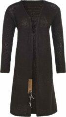 Knit Factory Luna Lang Gebreid Dames Vest - Donkerbruin - 40/42