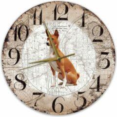 Bruine Creatief Art Houten Klok - 30cm - Hond - Basenji