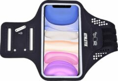 Athletix® - Universele Smartphone Hardloop Armband - Reflecterende Sportarmband - Inclusief ruimte voor 10 pasjes en 2 sleutels- Hardloopband - Smartphone Houder / Geschikt voor iPhone 11 Pro / XS / X / 8 / 7 / 6S / 6 - 100% Spatwaterdicht - Zwart