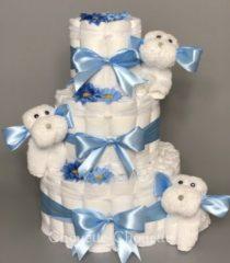 Lichtblauwe Chouette-Chouette Luiertaart Hondjes Blauw