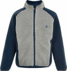 Color Kids - Fleece jas voor kinderen - Colorblock - Grijs/Donkerblauw - maat 122cm