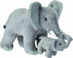 Grijze Wild Republic OLIFANT Pluche JUMBO Knuffel Olifant met baby Speelgoed Kraamcadeau