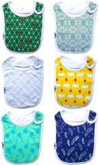Blauwe Slabbetjes set van 6 stuks - Zachte babyslab in vrolijke en hippe designs - 4 maanden t/m 3 jaar - slab voor baby en peuter - comfortabel met stevige drukkers aan zijkant - Jongens Eetslabben van King Mungo - KMFB002