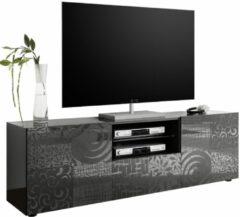 Antraciet-grijze Pesaro Mobilia Tv-meubel Miro 181 cm breed in hoogglans antraciet