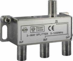 Q-link Coax F- splitter   1x in - 3x out   7 mm   demping 4 dB