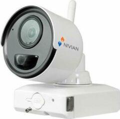 Witte Nivian NV-IPB020A-2-BAT accu IP camera voor uitbreiding van de NV-KIT61-4C2M-BAT set