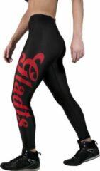 Gladts legging dames zwart met rode letters - S