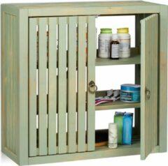 Groene Relaxdays hangkast vintage - bamboe bovenkast - badkamerkast - keukenkast