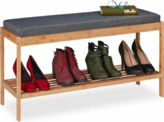 Naturelkleurige Relaxdays schoenenrek met bankje - bamboe - schoenenbank - schoenenkastje - halbankje