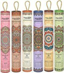 Paarse MANDALA SCENTS Mandala wierookstokjes in koker met houder   Gift Set   Cadeauset   6x30