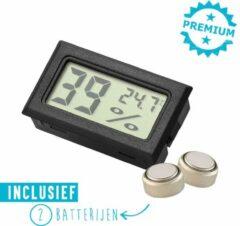 Qitch & Quisine Hygrometer Met Batterijen - Zwart - Inclusief Thermometer - Digitale Luchtvochtigheidsmeter - Voor Binnen & Buiten - 2 in 1