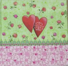 Rode Colourful Life Servetten Love is in the air 33 x 33 cm