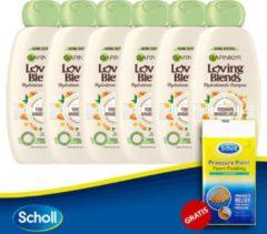 Garnier Loving Blends Plantaardige Melk Shampoo - 6X 250ml + Scholl Pressure Point Foam Padding