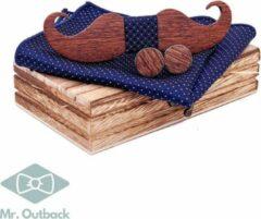 Mr. Outback Mr. Bow Tie - Houten vlinderdas met Manchetknopen en Pochet - Blauw - hout snor motief