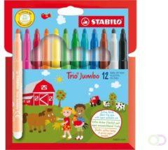STABILO Trio Jumbo - Viltstift - Met Extra Dikke Punt 3,0 mm - Etui met 12 kleuren