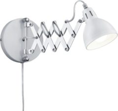 Witte LT-Luce Reality, Wand lamp, Scissor 1xE14, max.28,0 W Metaal, wit mat, Armatuur: Metaal, Chroom Ø:15,0cm, Ø:53,0cm Snoerschakelaar,Draaibaar,Wand montage,