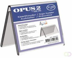 KAARTHOUDER OPUS 2 V-STANDAARD 7X10CM ACRYL - ideaal voor naampresentatie op bureaus, balies en voor vergaderingen - tweezijdig leesbaar - inclusief blanco kaartje - hoogwaardig transparant acrylaat