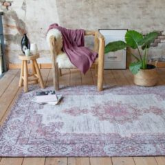 Fraai Vintage vloerkleed - Dreams Grijs/Roze 70x140cm