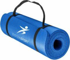 Siston® Siston Sport Fitnessmat – 183 cm x 61 cm x 1.5 cm – Blauw – Inclusief draagtas en extra draagriem