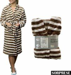 Sorprese - Luxe badjas - middenbruin en wit gestreept - maat L/XL - Extra zachte badstof - MICRO FLEECE - badjas - bad jas - ochtendjas - Design E