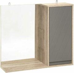 Bruine Gebor Badkamer kastje – Muurkastje – Kastje met spiegel – 2 Schapjes – Naturel – Houtlook – Grijs – 57x14,5x49cm