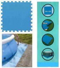 Blauwe JS HomeTools Zwembad tegels - Set van 8 stuks - Bodem bescherming - Ondertegels - Ondervloer - Ondergrond - Foam tegels - Matten - Puzzelmat voor zwembad - zwembadtegels - 50x50 / 2m2 |