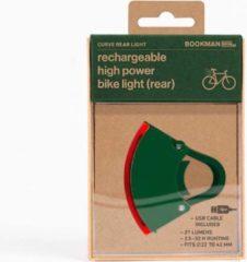 Groene Bookman Curve Fietsverlichting - LED Achterlicht - Oplaadbaar via USB - Compact Design - Grijs