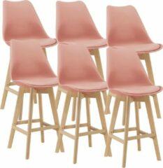 En.casa Barkruk set van 6 kunstleer en beuken 105x48x58 cm roze