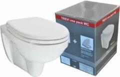 Douche Concurrent Toiletpot Hangend Trevi One Pack Diepspoel Wandcloset Keramiek Glans Wit met Softclose