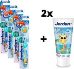 Jordan Step By Step 2 - 4x Tandenborstel (3-5 jaar) Kleur Blauw/Groen met 2x Jordan Tandpasta 0-5 jaar