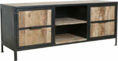 Naturelkleurige Raw Materials Vintage Mangowood Tv Meubel- Mangohout - 150x45x60 cm - Metaal