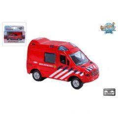 Rode Kids Globe Brandweerwagen met pull-back - Speelgoedvoertuig: 8 cm