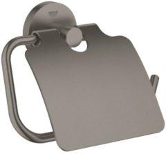 Antraciet-grijze GROHE Essentials Toiletrolhouder - met deksel - hard graphite geborsteld (mat antraciet) - 40367AL1