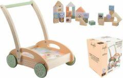 Jouéco Loopkarretje met blokken-Duwwagen-Baby walker-Baby-Loopauto-Looprek-Blokkenset