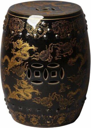 Afbeelding van Gouden Fine Asianliving Keramische Kruk Porselein Stoel Dragon Zwart B33xH45cm Chinese Meubels Oosterse Kast