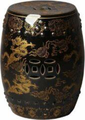 Gouden Fine Asianliving Keramische Kruk Porselein Stoel Dragon Zwart B33xH45cm Chinese Meubels Oosterse Kast