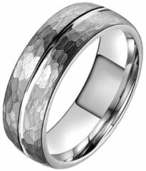 Tom Jaxon wolfraam Ring Facet Groef Mat Zilverkleurig-18mm