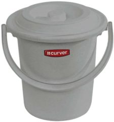 Licht-grijze Curver Toiletemmer met deksel - 10L - 31 cm - Lichtgrijs