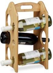 Naturelkleurige Relaxdays - wijnrek bamboe voor 6 flessen - flessenrek - flessenhouder voor wijn